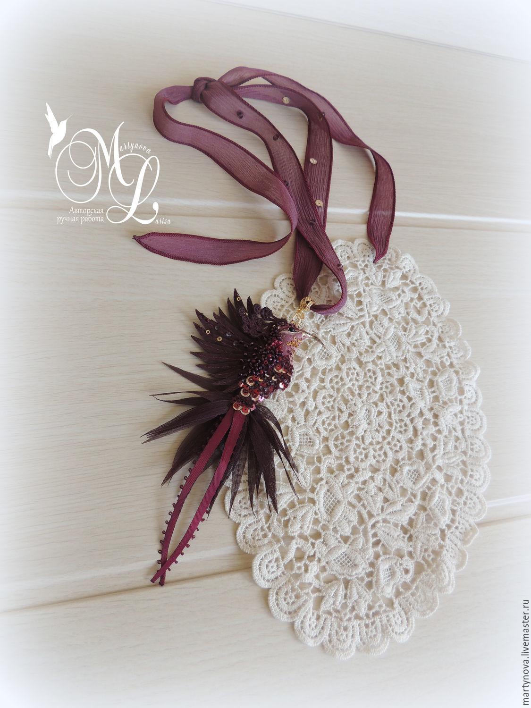 Hummingbird pendant on a silk ribbon. The noble MARSALA!, Pendants, Omsk,  Фото №1