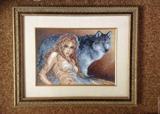Люди, ручной работы. Ярмарка Мастеров - ручная работа. Купить Девушка и волк. Handmade. Вышивка крестом, волк, картина