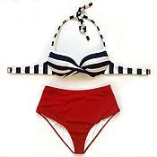 Одежда handmade. Livemaster - original item Tankini swimsuit in a retro style on the cups push-up. Handmade.
