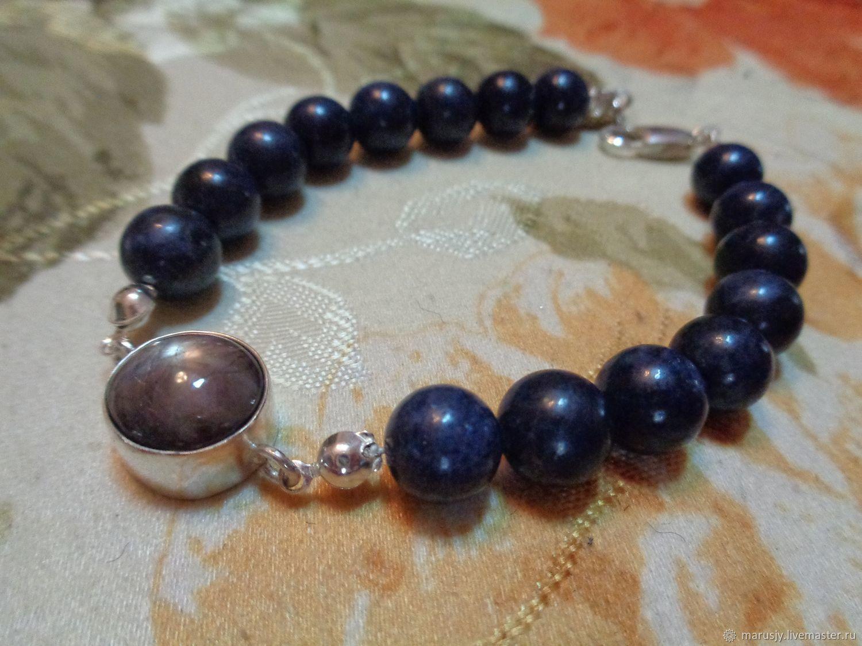 Men's bracelet made of AA sapphire(corundum) and star sapphire in silver, Bead bracelet, Sergiev Posad,  Фото №1