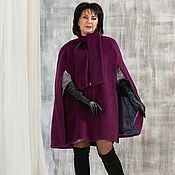 Пальто ручной работы. Ярмарка Мастеров - ручная работа Пальто-кейп на подкладке  лиловое. Handmade.