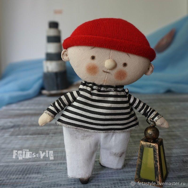 Человечки ручной работы. Ярмарка Мастеров - ручная работа. Купить Смотритель Маяка и старый фонарь Кукла текстильная Подарок морской. Handmade.