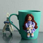 Посуда handmade. Livemaster - original item Mug with decor. Decor polymer clay.Decor mug girl Bunny.. Handmade.