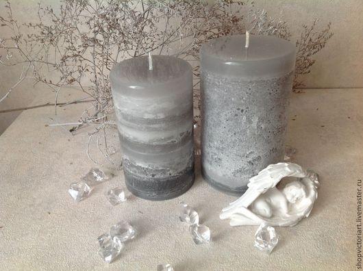 "Свечи ручной работы. Ярмарка Мастеров - ручная работа. Купить Свечи ручной работы ""Серый туман"". Handmade. Серый"
