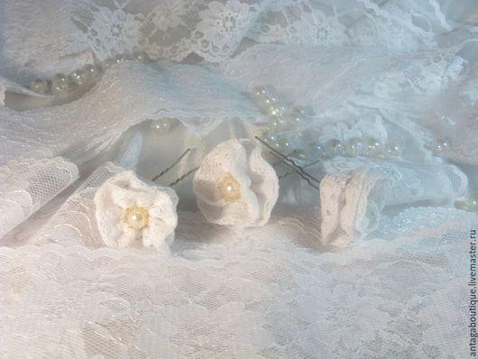 """Свадебные украшения ручной работы. Ярмарка Мастеров - ручная работа. Купить Свадебные шпильки для волос """"Нежный зефир"""" (белые кружевные). Handmade."""