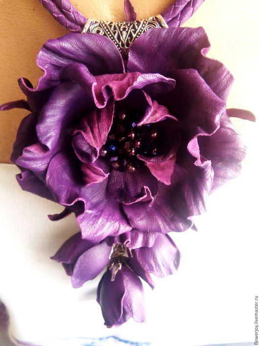 """Колье, бусы ручной работы. Ярмарка Мастеров - ручная работа. Купить Колье из кожи """"Пурпурный шиповник"""". Handmade. Фиолетовый"""