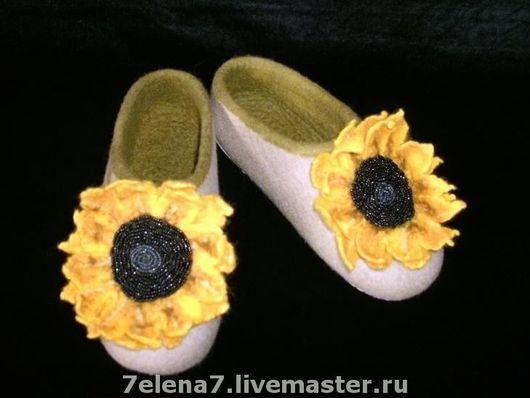 """Обувь ручной работы. Ярмарка Мастеров - ручная работа. Купить Тапочки """"Подсолнухи"""". Handmade. Валяные тапочки, подарок женщине"""