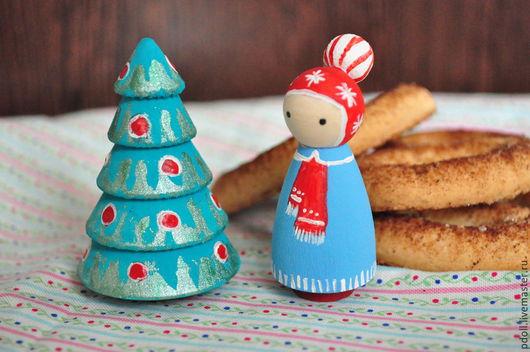 Вальдорфская игрушка ручной работы. Ярмарка Мастеров - ручная работа. Купить Маша и елочка (куколки маленькие). Handmade. Разноцветный, дерево