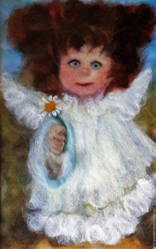 Фантазийные сюжеты ручной работы. Ярмарка Мастеров - ручная работа. Купить Картина шерстью Мой рыжий ангел в белом.. Handmade.