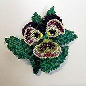 handmade. Livemaster - original item Violet brooch the Approach of spring. (Japanese beads). Handmade.