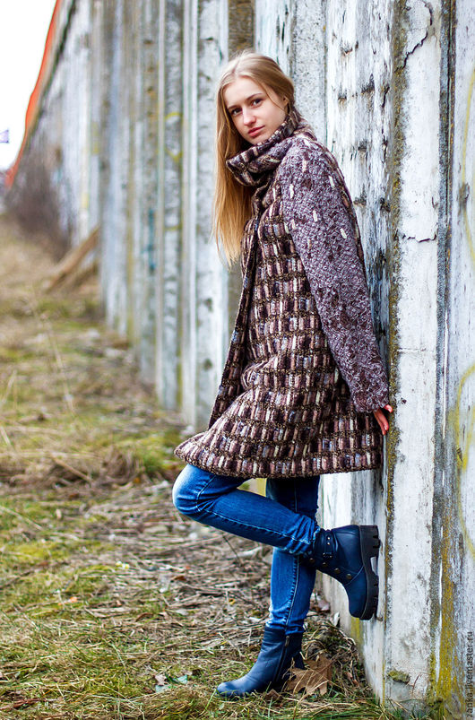 """Верхняя одежда ручной работы. Ярмарка Мастеров - ручная работа. Купить Пальто-кардиган из коллекции """"Эхо"""". Handmade. Разноцветный"""