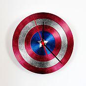 """Для дома и интерьера ручной работы. Ярмарка Мастеров - ручная работа Настенные часы """"Капитан Америка"""". Handmade."""