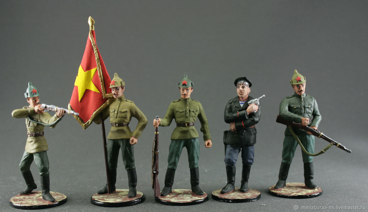 Set of 5 soldiers 54 mm. The Red Army. Red army soldier. RUSSIA, Military miniature, St. Petersburg,  Фото №1