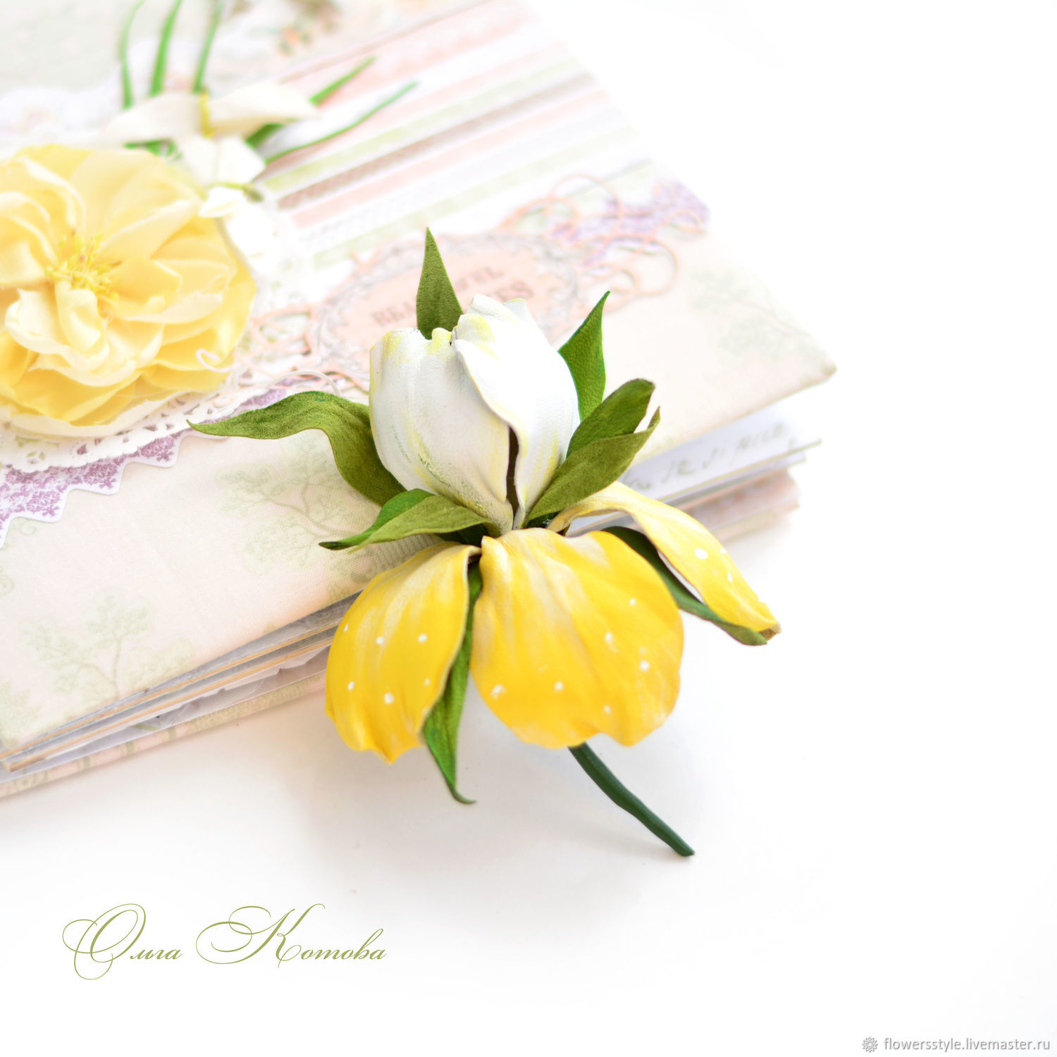 Iris flower brooch incredible tenderness yellow white, Brooches, Kursk,  Фото №1