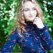 """Одежда ручной работы. Ярмарка Мастеров - ручная работа Блузка с рюшами - """"Вишенки на синем"""". Handmade."""