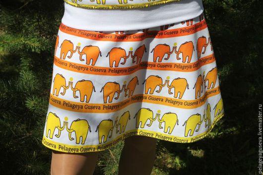 """Юбки ручной работы. Ярмарка Мастеров - ручная работа. Купить Юбка летняя """"Слоны"""". Handmade. Юбка, юбка-солнце"""