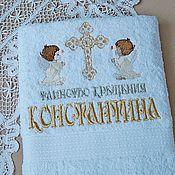 """Работы для детей, ручной работы. Ярмарка Мастеров - ручная работа Крестильное полотенце """"Два ангела со свечёй"""" махровое. Handmade."""