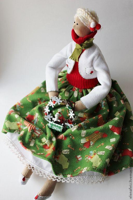 Куклы Тильды ручной работы. Ярмарка Мастеров - ручная работа. Купить Встреча Рождества. Handmade. Тёмно-зелёный, новогодний подарок