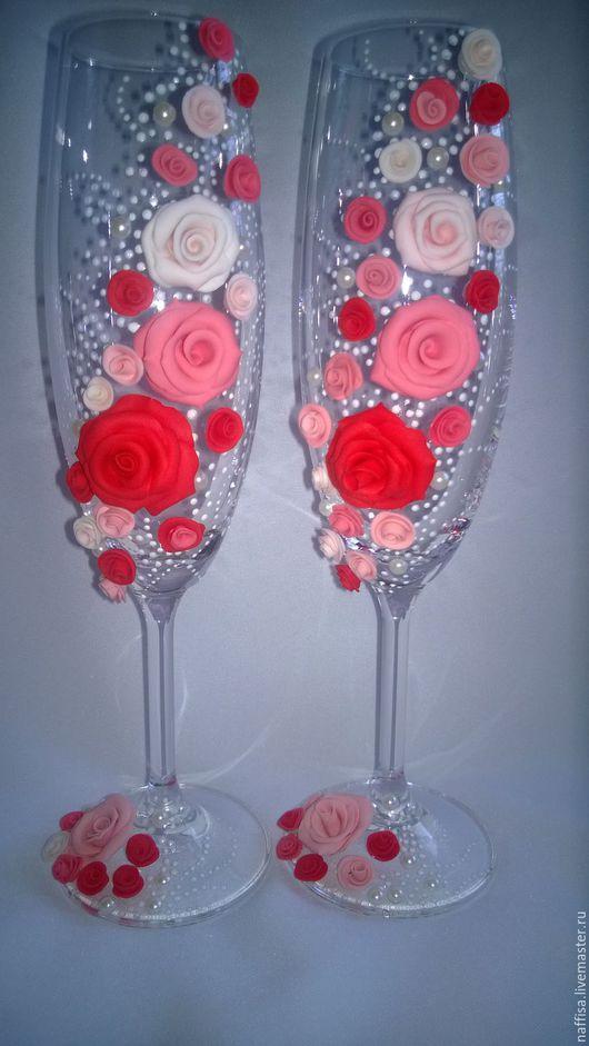 Свадебные аксессуары ручной работы. Ярмарка Мастеров - ручная работа. Купить Фужеры для торжества. Handmade. Розовый, свадебные аксессуары, розы