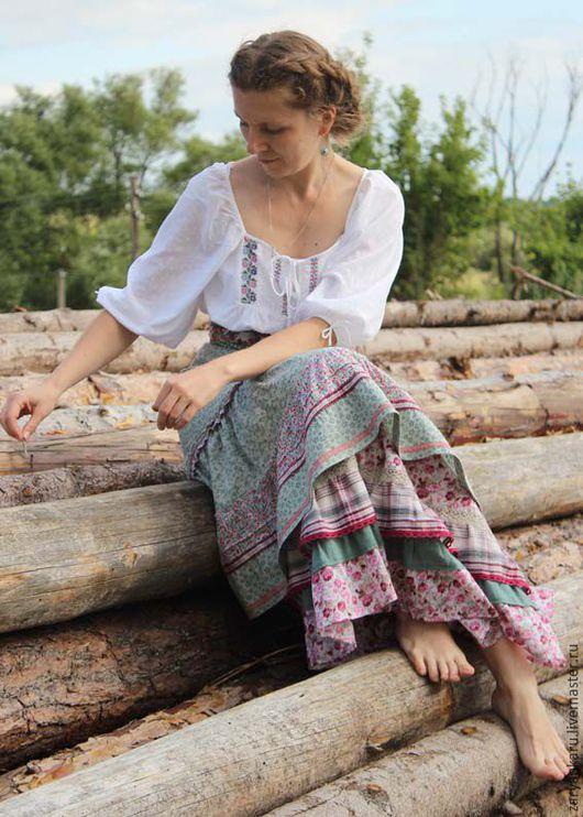 Юбки ручной работы. Ярмарка Мастеров - ручная работа. Купить Длинная летняя юбка по старинным мотивам. Handmade. В цветочек