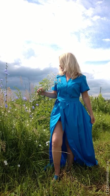 Платья ручной работы. Ярмарка Мастеров - ручная работа. Купить Платье-рубашка и шорты Бирюза. Handmade. Бирюзовый, комплект
