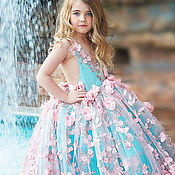 Работы для детей, handmade. Livemaster - original item Luxury blue gown for girl. Handmade.