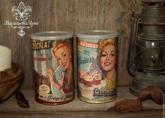 """Шкатулки ручной работы. Ярмарка Мастеров - ручная работа. Купить Набор баночек """" Сладкие женщины"""". Handmade. Разноцветный, ретро"""