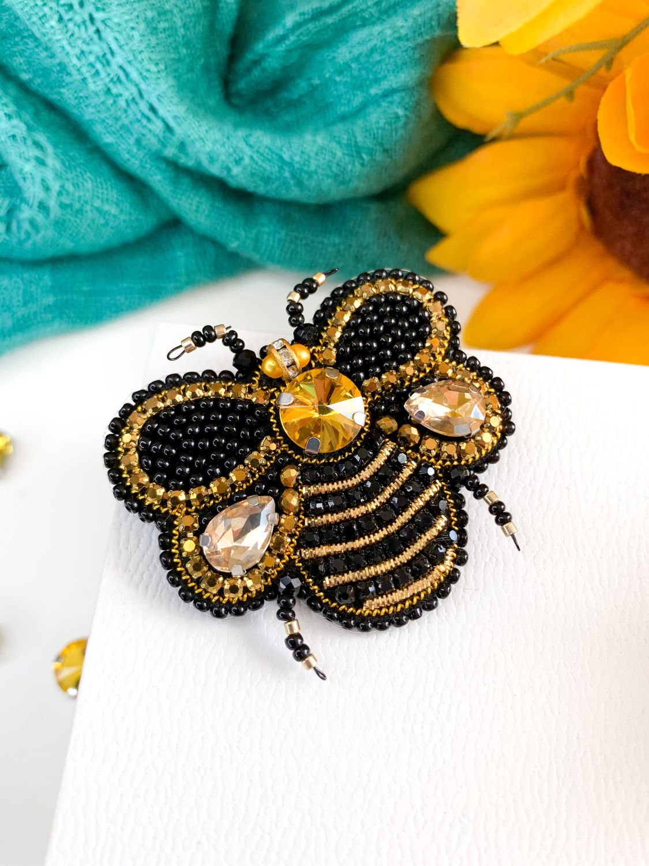 Брошь Пчела из страз, Брошь-булавка, Москва,  Фото №1