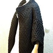 Одежда ручной работы. Ярмарка Мастеров - ручная работа Blackjoy, вязаное спицами плотное шерстяное пальто. Handmade.