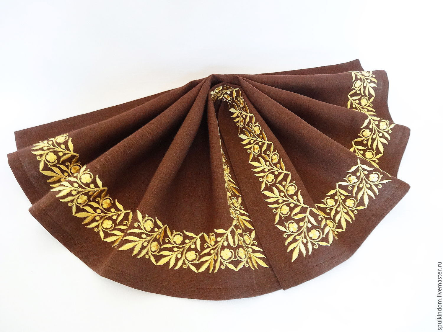 Napkin for Breakfast with embroidery `Scythian Gold`  `Sulkin house` embroidery workshop