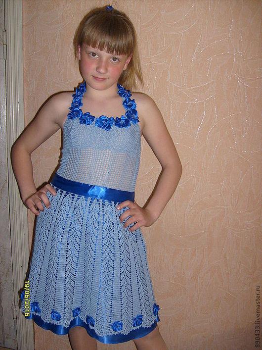 Платья ручной работы. Ярмарка Мастеров - ручная работа. Купить Платье. Handmade. Тёмно-синий, платье крючком, платье летнее