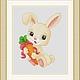 """Вышивка ручной работы. Ярмарка Мастеров - ручная работа. Купить Схема для вышивки крестиком """"Зайка с морковкой"""". Handmade."""