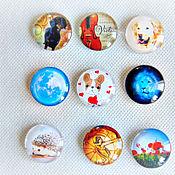 Материалы для творчества handmade. Livemaster - original item Glass cabochons with images of 25 mm. Handmade.