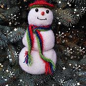 handmade. Livemaster - original item Snowman design knitted gift bottle cover on the bottle. Handmade.