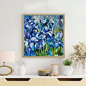 Картины и панно handmade. Livemaster - original item Painting with irises, Blue flowers. Handmade.
