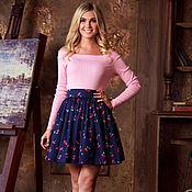 Одежда ручной работы. Ярмарка Мастеров - ручная работа Летняя юбка. Короткая юбка с цветочным принтом 100% Хлопок. Handmade.