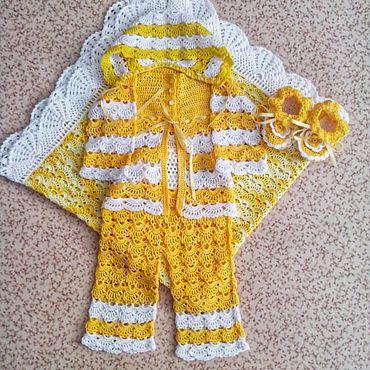 """Товары для малышей ручной работы. Ярмарка Мастеров - ручная работа Комплекты одежды: Комплект """"Солнышко"""" на выписку. Handmade."""