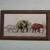 """Картины и панно ручной работы. Ярмарка Мастеров - ручная работа Вышитая картина """"Прогулка слонов"""". Handmade."""