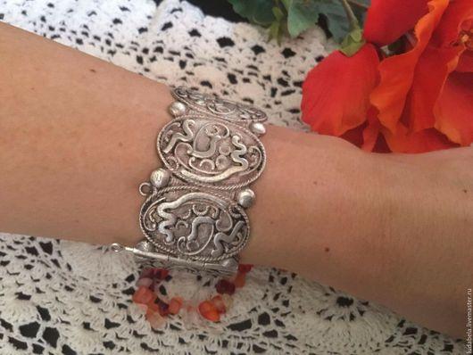 Винтажные украшения. Ярмарка Мастеров - ручная работа. Купить Старинный винтажный браслет из альпака. Handmade. Серебряный, старинный, браслет с посеребрением