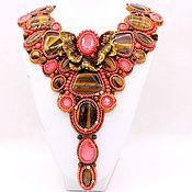 "Украшения handmade. Livemaster - original item Coral necklace and earrings with stones and beads ""Camellia"". Handmade."