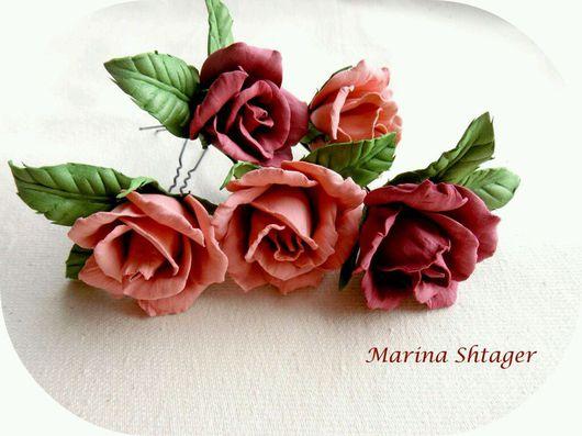 """Заколки ручной работы. Ярмарка Мастеров - ручная работа. Купить Шпильки """"Бутоны роз"""" фоамиран. Handmade. Розочки, фоамиран, сиреневый"""