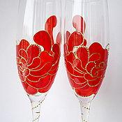 """Посуда ручной работы. Ярмарка Мастеров - ручная работа Фужеры для шампанского """"Аленький цветочек"""". Handmade."""