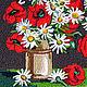 Картины цветов ручной работы. Заказать Вязанная картина Полевые цветы, объемные ромашки 40 х 40 см. Маскаева Ольга (maskaevadecor). Ярмарка Мастеров.