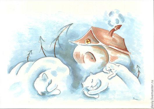 """Фантазийные сюжеты ручной работы. Ярмарка Мастеров - ручная работа. Купить Картина """"Мурлыкающая  зима"""". Handmade. Голубой, сугробы, кошка"""