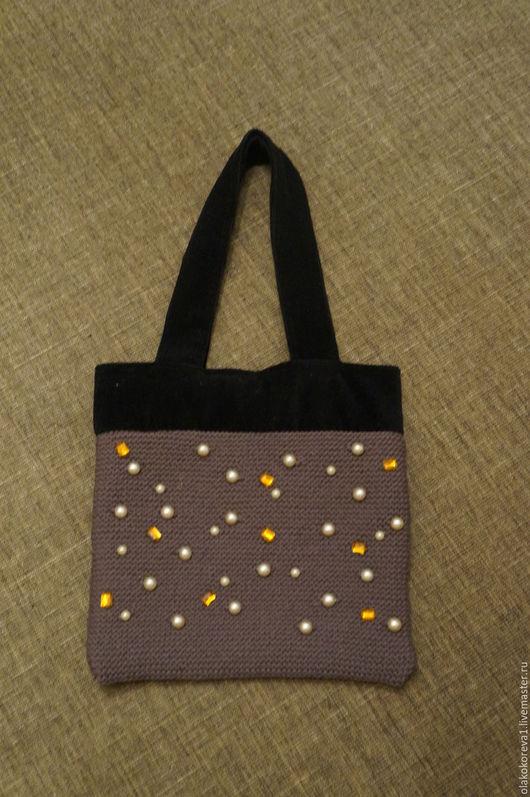 Женские сумки ручной работы. Ярмарка Мастеров - ручная работа. Купить Сумка вязаная серая с вельветом черным. Handmade.