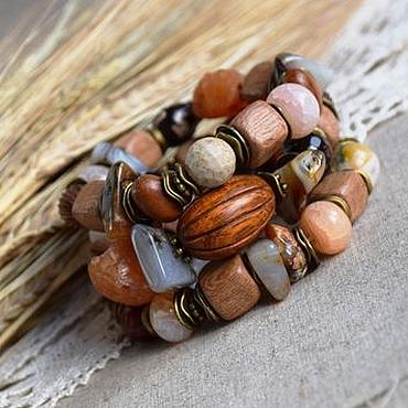 """Украшения ручной работы. Ярмарка Мастеров - ручная работа """"Полдень в степи"""" комплект браслетов. Handmade."""