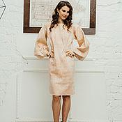Одежда handmade. Livemaster - original item Pale pink felt dress with wide sleeves. Handmade.