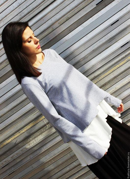 Блузки ручной работы. Ярмарка Мастеров - ручная работа. Купить Серо-белая экстравагантная блузка  B0008. Handmade. Серый