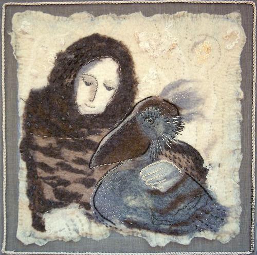 Animal Painting handmade. Livemaster - handmade. Buy Panels felt North Pelican.Felt, bird, pelican, interior, panels
