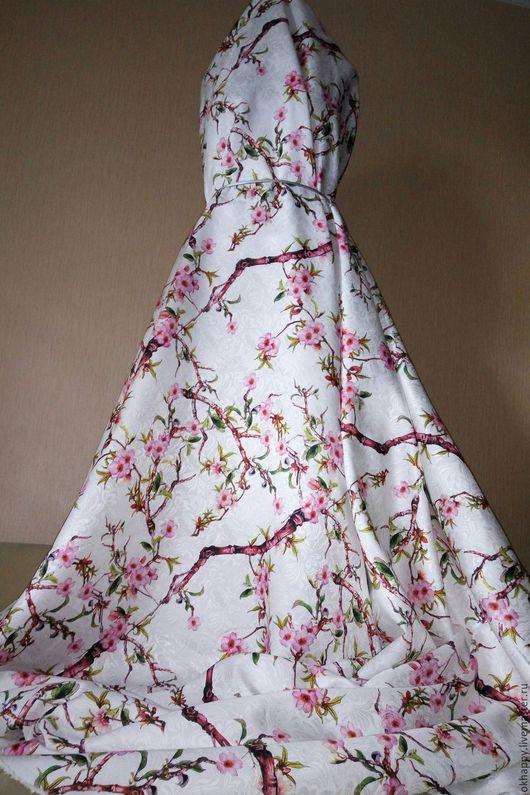 """Шитье ручной работы. Ярмарка Мастеров - ручная работа. Купить Жаккард """"Сакура"""" белый.. Handmade. Жаккардовое платье, пыльник"""